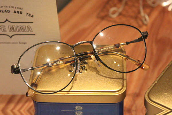 vtg-373 black&antique gold combination spectacles